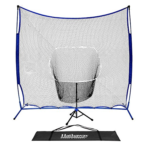 "Hathaway Powerstroke Baseball Hitting Net System with Adjustable Batting Tee & 7' Backing Net Blue, Black, 39.4"" L x 84"" W x 84"" H"