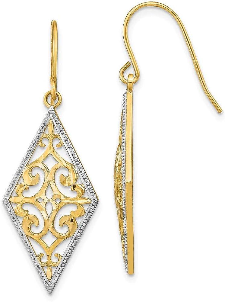 14k Yellow Gold Filigree Drop Dangle Chandelier Earrings Fine Jewelry For Women Gifts For Her