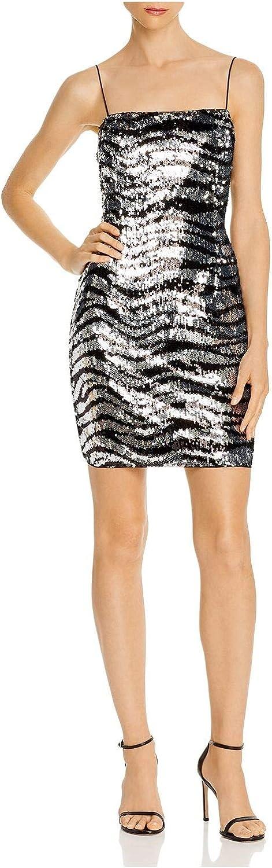 Aidan by Aidan Mattox Womens Zebra Sequined Party Cocktail Dress