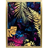 Postergaleria Cartel de diseño |30x40cm |con marco dorado |Púrpura, rosa y pan de oro, selva |Cuadros para cocina, oficina, salón o dormitorio |Dorado