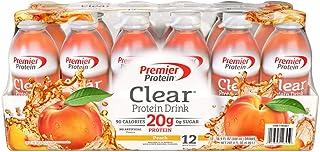 Premier Protein Clear Protein Drink, Peach, 16.9 oz, 12 ct