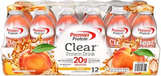 Premier Protein Clear Protein Drink, Peach, 16.9 oz, 12 ct