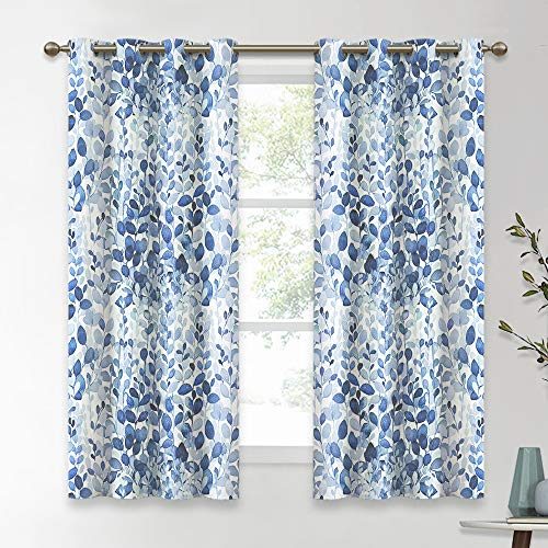 KGORGE Natural Inspired Leaf Pattern Curtains, Countryside Rural Series for Living Room Decor / Kitchen / Home Office Thermal Insulated, W 52 x L 63 inch, 2 Panels, Ocean Blue