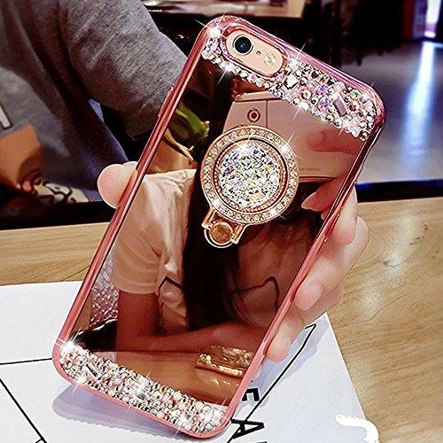 HMTECH iPhone SE/iPhone 5 5S Funda Bling Glitter Silicona TPU Cromado Espejo Mirror Makeup Suave Flexible Shockproof Slim Cuero Carcasas Caso para iPhone SE/5 5S,Rose Gold Diamond Mirror TPU