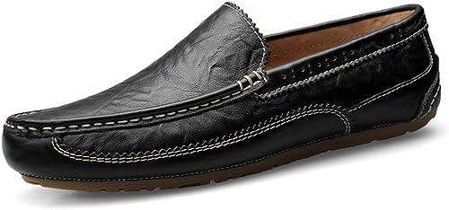Zhulongjin Mocassins à Enfiler en en Cuir véritable Penny Driving Leather Loafer Oxfords Slip-on Résistant à l'usure (Couleur   noir HolFaible Vamp, Taille   43 EU)