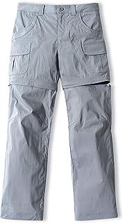 CQR Kids Youth Hiking Cargo Pants, UPF 50+ Quick Dry Convertible Zip Off/Regular Pants, Outdoor Camping Pants