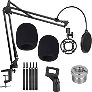 Upgraded Microphone Suspension Stand Adjustable Boom Scissor Arm Stand with Shock Mount Mic Clip Holder 3/8 to 5/8 Screw A...