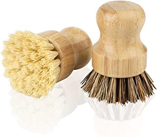 2 Pack Bamboo Dish Scrub Brush, PAMISO Natural Vegetable Brush for Dishes Cast Iron Pots Pans Vegetables, Used in Bathroom...
