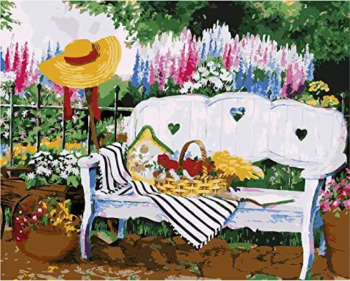 Leeg DIY schilderen op cijfers voor volwassenen, binnenplaats, tuin, schilderset, voor beginners, nieuw schilderwerk, 40 x 50 cm, zonder lijst