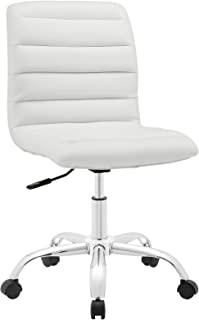 Modway Ripple Ribbed Armless Mid Back Swivel Computer Desk Office Chairr In White