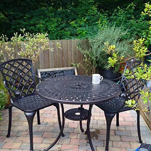 Lazy Susan - MIA 90 cm Runder Gartentisch mit 2 Stühlen - Gartenmöbel Set aus Metall, Antik Bronze (Emma Stühle)