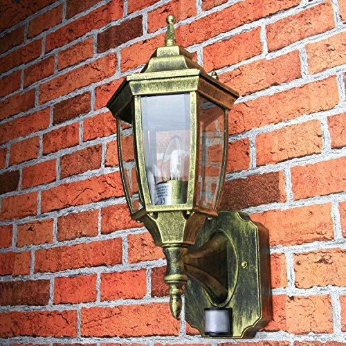 *Antike Außen Wandleuchte mit Bewegungsmelder einstellbar Sensor H:42cm Lampe Laterne Balkon Terrasse*