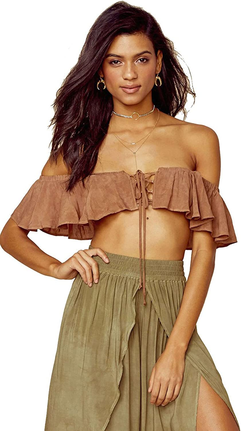bluee Life Melanie Lace Up Strapless Crop Top St Tropez Brown Off Shoulder