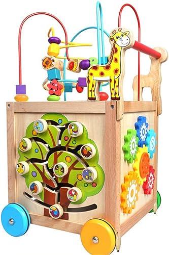 A la venta con descuento del 70%. Juguete de bebe Puzzle Beads Labyrinth Roller Coaster Educación de de de la primera infancia Wooden Activity Cube 5 en 1 Centro multifuncional de madera de cuatro ruedas Push Walker Para Niños Niños Niños C  tienda de venta
