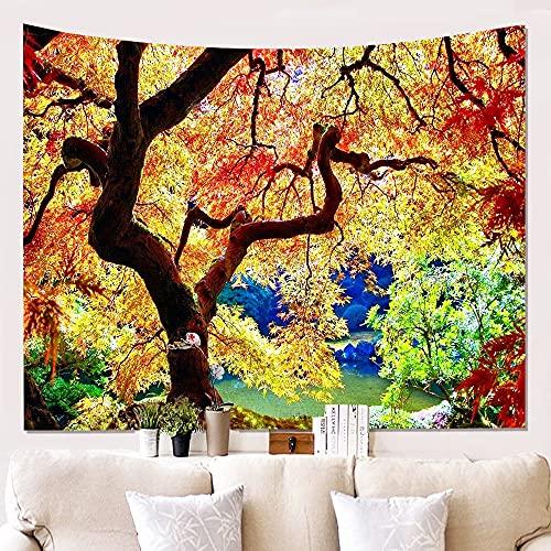 BFDSJU tapizTapiz con patrón de árboles y bosques Sentimientos de la Naturaleza Hermosa decoración del hogar Paño Fino para Colgar en la Pared de poliéster Fresco