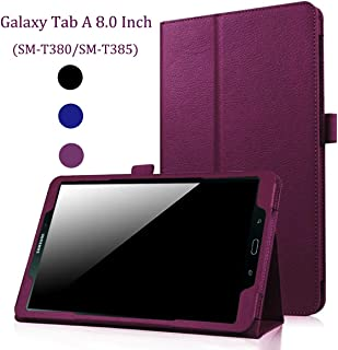 EAGKORD Samsung Galaxy Tab A 8.0 Case for T380/T385 2017 Model, Auto Wake/Sleep Lightweight Folio Leather Cover Stand Folding Case for Tab A 8.0 Inch Tablet 2017 Released - Purple