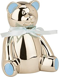 Creative Gifts International Teddy Bear Bank with Blue Highlights, 4.25 x 3.75 inches, Silver