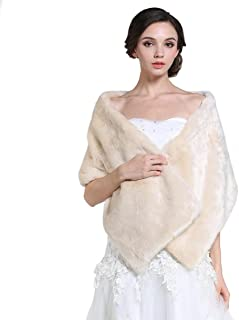 Aukmla Women's Wedding Fur Shawls and Wraps, Bridal Fur Stole and Scarves…