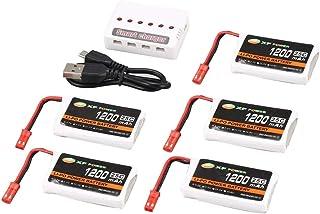 Ba30DEllylelly 5 Piezas 3,7 V 1200 mAh 25C batería Lipo JST Enchufe con Cargador USB de 6 Puertos para Syma X5HC Drone Qua...