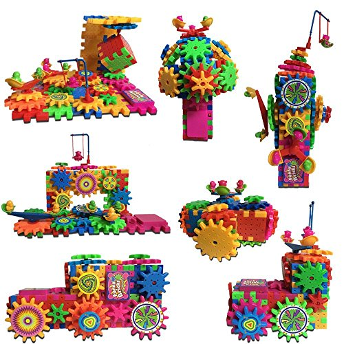 Gifts A Must, 81 Piece Gears for Kids Building Toy Set, Motorized Interlocking 3D Puzzle, {Safer for Kids and More Durable Then Other Brands}