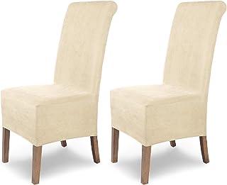 comprar comparacion SCHEFFLER-Home Leon 2 Fundas de sillas, Estirable Cubiertas, Polipiel extraíble flexibel Funda con Banda elástica, Crudo