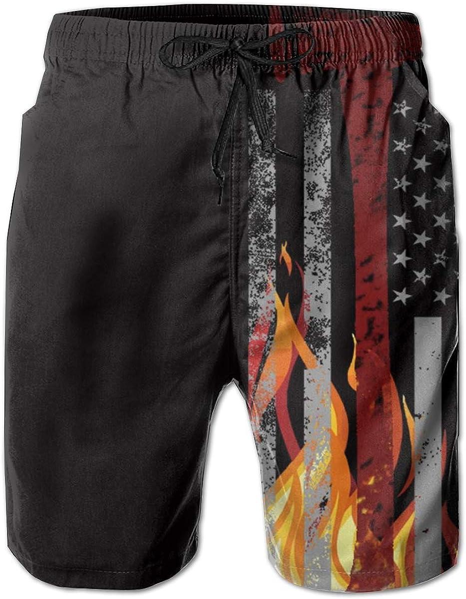 YongColer Men Cool Surfing Beach Board Shorts Swim Trunks - American Firefighter Red Ax Thin Flag