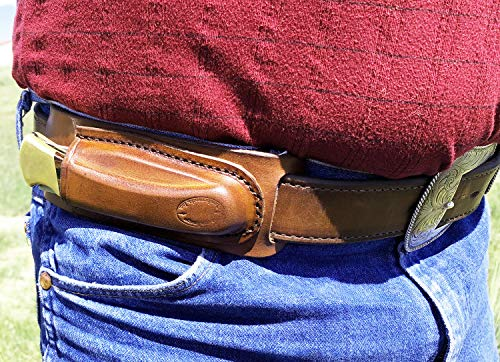 WESTERN IMAGES LEATHERWORKS, INC. Horizontal Leather Knife Sheath for Buck 110 I'm Right Handed, Brown or Black. Made in…