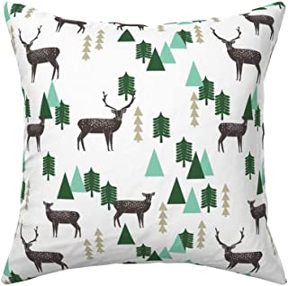 Roostery Throw Pillow, Reindeer Triangle Tree Mountain Deer Antler Christmas Print, Velvet, Knife Edge Accent Pillow 18in x 18in with Insert
