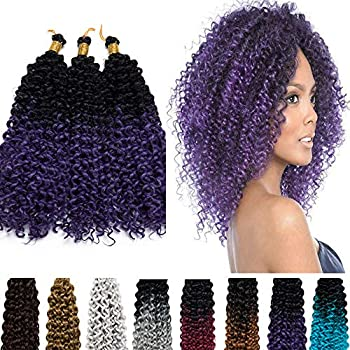 Marlybob Crochet Hair 14 Inch Synthetic Hair Afro Water Wave Hair Braids 2 Tones Braiding Jerry Curl Twist Hair for Black Women 3 Packs/lot 270g Ombre Black to Purple