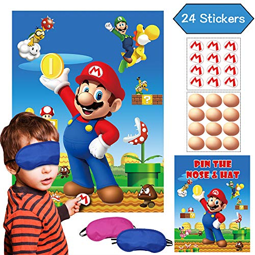 Super Mario Party Game Pin The Nose On The Face amp Pin The M Insignia On The Hat – Mario Brother Party Supplies Wall Decorations Poster  24 Nose amp M Stickers for Kids Boys Outdoor Indoor Activity