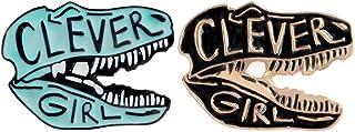 Charmart Clever Girl Enamel Pins 2 Piece Set Dinosaur Brooch Denim Coat Bags Backpacks Jackets Shirt Lapel Badge Cute Anim...