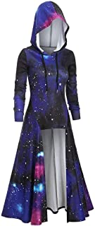 iLOOSKR Fashion Hooded Dress for Womens Plus Size Long Sleeve Spiral Tie Print High Blouse Top