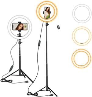 "10"" Ring Light with 59"" Extendable Tripod Stand & Phone Holder for YouTube Video, Dimmable Led Ring Light for Camera, Video, Makeup, Selfie Photography Compatible with Smartphone"
