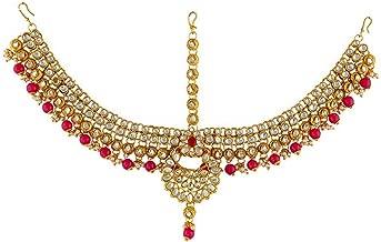 Jewel India Ethnic Traditional Wedding Bridal Gold Party-wear Kundan Pearl CZ Indian Maang Tikka Matha Patti Head Jewelry for Women Pink