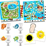 Orinal entrenador para niños – 2 pegatinas mágicas de sol + 4 pegatinas de inodoro con animales favoritos + sistemas de recompensa dinosaurios + piratas
