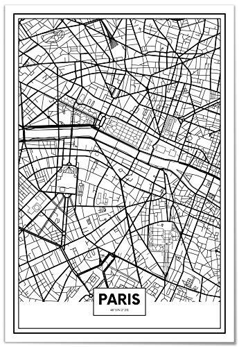 Panorama Póster Mapa de París 50x70cm - Impreso en Papel 250gr - Póster Pared - Cuadros Decoración Salón - Cuadros para Dormitorio - Póster Decorativos - Cuadros Modernos