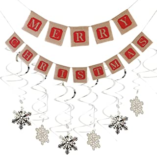 Merry Christmas Jute Burlap Banners and PVC Snowflake Hanging Swirls for Christmas Party Decorations