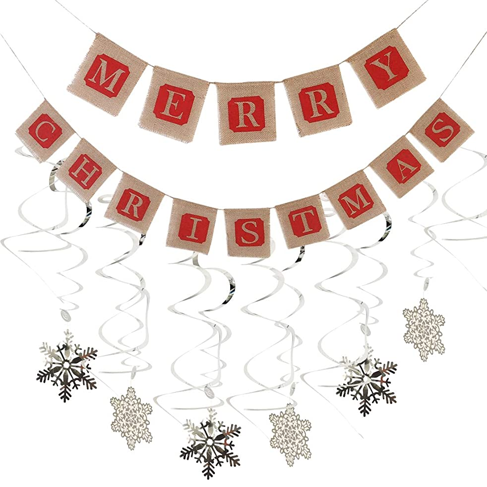 Merry Christmas Jute Burlap Banners Christmas Banner and 12pcs PVC Snowflake Hanging Swirls for Christmas Party Decorations