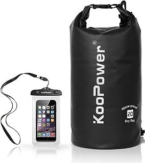 Koopower Waterproof Bag Drybag 20L Dry Gear Backpack with Universal Waterproof Phone Case for Boating, Kayaking, Rafting, Fishing, Camping, Canoeing, Swimming, Snowboarding, Driving
