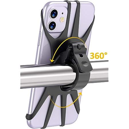 Cocoda Porta Cellulare Bici, Rotazione a 360° Porta Cellulare Moto, Anti Vibrazione Silicone Manubrio Universale, Porta Telefono Bici Compatibile con iPhone 12/12 Pro/12 Mini/11 Pro Max, Samsung S20