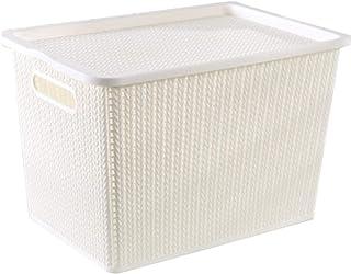 OJPOGHU Boîte de Rangement en Plastique de Rangement de Jouets avec Couvercle, Panier de Rangement en rotin, Jouets, vêtem...