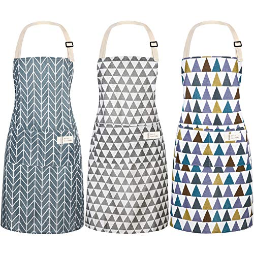 3 Pieces Women Linen Apron with Pockets Adjustable Cooking Aprons for Kitchen Household Cleaning Supplies