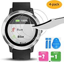 Watbro [4-Pack] Screen Protector Compatible with Garmin Vivoactive 3 Smartwatch, Anti Scratch Tempered Glass Screen Protector [9H Hardness] [Crystal Clear] [No-Bubble] (Not Fit for Vivoactive 3 Music)