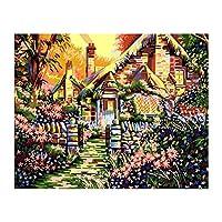Tooart 大人のための番号キットストリートハウスパターンによるキャンバスペイントの12x16インチDIY油絵子供初心者クラフト家の壁の装飾ギフト