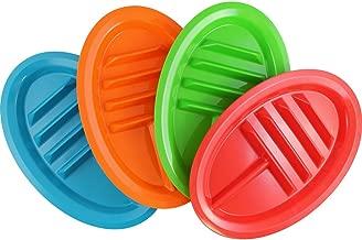 (Set/4) Taco Divider Plates Set - Keep Shells Upright Dish W/Side Sections
