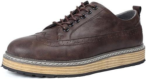 GAOLIXIA Cuir classique pour homme avec semelles en cuir. Chaussures formelles de style classique pour hommes en cuir noir à lacets (Couleur   Dark marron, Taille   44)