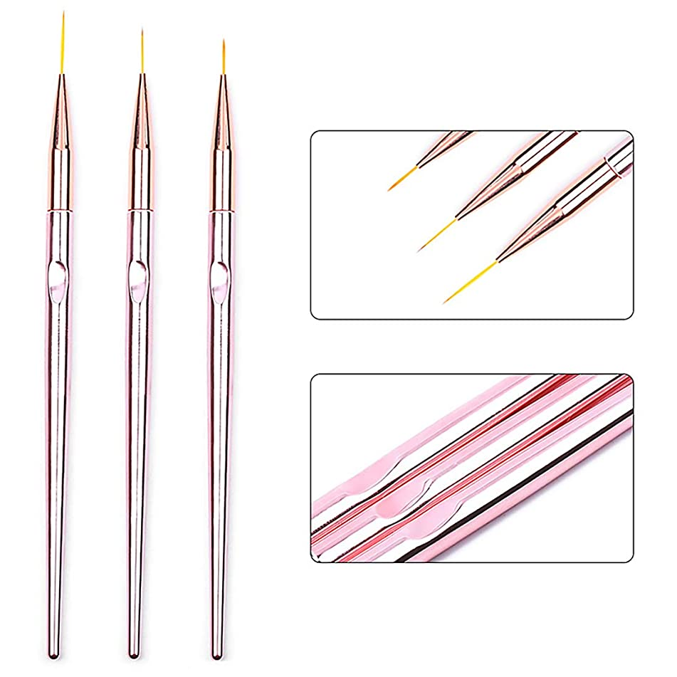 3Pcs Pro Drawing Nail Liner Brush 11mm 15mm 20mm with Gradient Mermaid Color Handle Painting Brushes Pen for UV Gel Polish Nail Art Design Manicure Tools, HJ-NB106