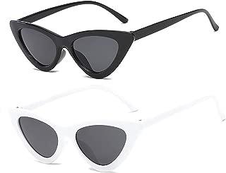 YOSHYA Retro Vintage Narrow Cat Eye Sunglasses for Women Clout Goggles Plastic Frame