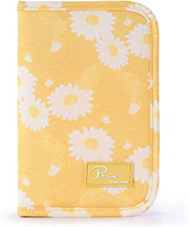 Family Passport Holder Document Organizer, Waterproof Flamingo Print Travel Wallet Purse with Zip Closure Ticket Credit ID Card Cash Pouch Holiday Money Bag for Men Women by ManKn (Yellow Daisy)