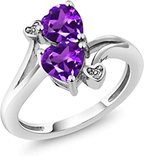 925 Sterling Silver Purple Amethyst and Diamond Accent Ring 1.33 Ctw Heart Shape Gemstone Birthstone (Available 5,6,7,8,9)